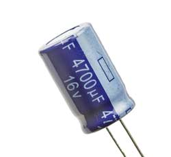 Leaded aluminium electrolytic capacitor showing the negative connection marking.