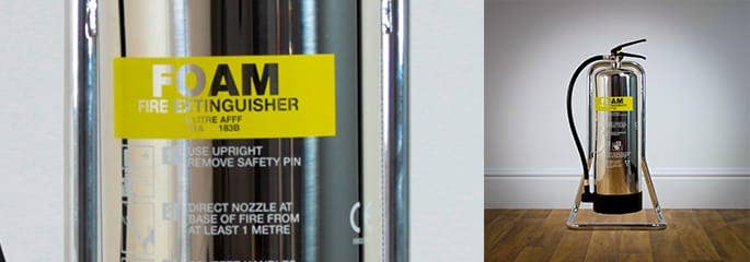 Silver finish fire extinguisher